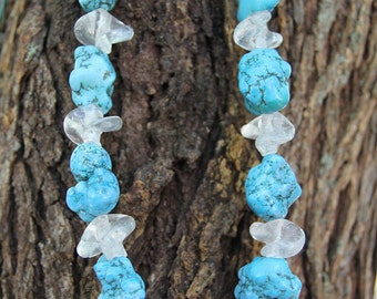 Clear Glass & Turquoise Chunk Necklace