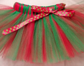 Christmas Tutu, Red Green Tutu, Red and Green tutu, Elf Tutu, infant tutu, baby tutu, newborn tutu, toddler tutu, preemie tutu, holiday tutu