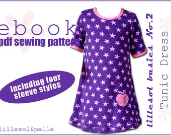 Ebook pdf sewing pattern lillesol basic No.2 Tunic Dress / long + short sleeves or sleeveless / Girls / Instant Download / photo instruction