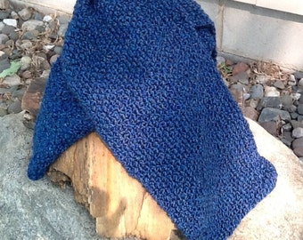 Royal blue knit scarf, chunky  medium blue scarf, cozy, thick and warm.  Cadet blue color for those gray days