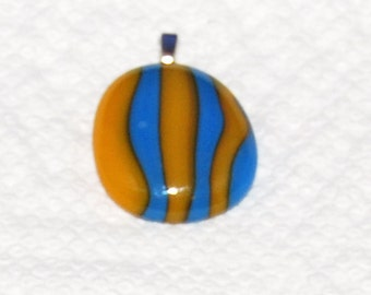 Handmade Abstract Fused Glass Pendant
