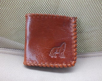 Boys Billfold, Leather Wallet, Leather Billfold, Boys Wallet, Brown Wallet, Brown Billfold, Small Wallet, Rustic Wallet, Dolphin Design