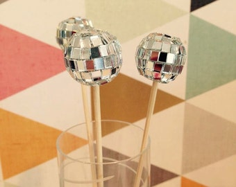 Silver Mirror Ball Disco Ball  Drink Stirrers, Weddings, Wedding Showers, Signature Drink, Bachelorette Party, Bar Decoration