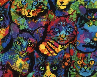Paint Splatter Cats Fabric Fat Quarter, Third Yard, Half Yard, or By-The-Yard; Timeless Treasures; C4140; Cat Fabric; Novelty Fabric