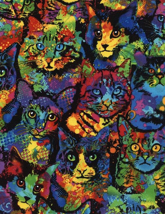 Paint Splatter Cats Fabric Fat Quarter Third Yard Half Yard