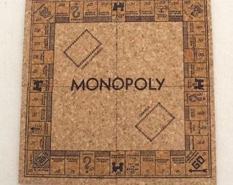 Vintage Monopoly Board Game Themed Cork Coaster Set of 4