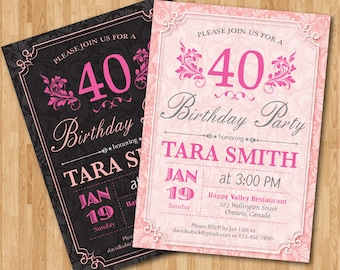 40th Birthday Invitation for Woman. Adult birthday party invites. Pink and Black or Any custom color. Floral. Any age. Printable digital.