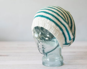 Striped Knit Slouch Hat - MADE TO ORDER