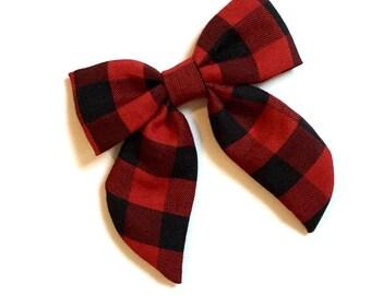 Sailor Bow -  Red & Black Buffalo Plaid Sailor Bow