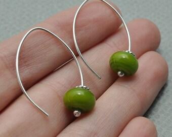 Sterling Silver Hoops, Olive Glass bead Earrings, Green Earrings, Everyday Hoops