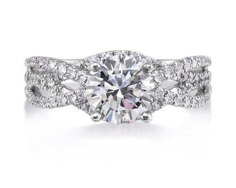 Moissanite Genuine Diamonds Engagement Ring 1.0ct Round Forever One Moissanite .52ct Diamonds Wedding Ring Pristine Custom Ring