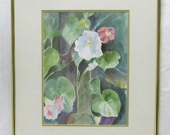 Vintage Morning Glory Flowers Watercolor Painting Judith Power Briske NH Artist