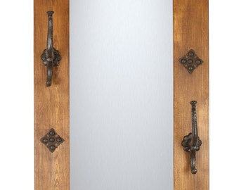 Arroyo Rustic Mirror Hat Rack--Mexican-20x34 -Western-Wall-Lodge-Primitive-Wall-Natural-Hooks