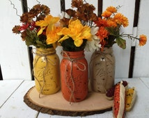 3 Quart Mason Jars,Fall Decor,Thanksgiving,Painted Mason Jar,Rustic Wedding Centerpieces,Flower Vases,Rustic Home Decor