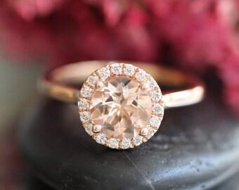 Rose Gold Morganite Ring Diamond Halo Engagement Ring in 14k Gold 7mm Pink Peach Morganie Wedding Ring (Bridal Wedding Set Available)