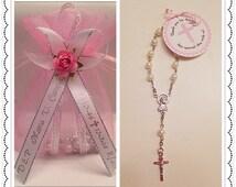 Rosary Favors - 24 Personalized Mini Rosaries White with Pink Organza Gift Bag Baptism/Communion Recuerdos de Bautizo