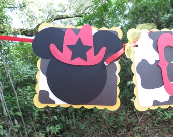 """Western Cowboy Mickey Mouse """"NAME"""" Yellow, Cow Print, & Red banner"""