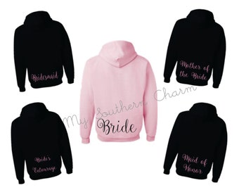 Bride hoodie, bride hoodie, bridesmaid hoodie, bridal party hoodies, (br011)