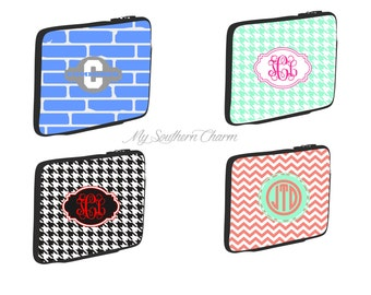 Personalized monogram tablet sleeve, ipad case