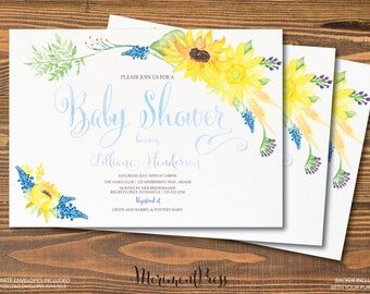 Sunflower Baby Shower Invitation Sunflowers Watercolor Calligraphy Blue Green Yellow Baby Sprinkle - TUSCANY