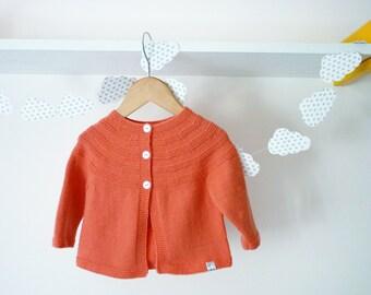 Hand knit baby cardigan / baby cardigan / Merino wool cardigan / baby sweater