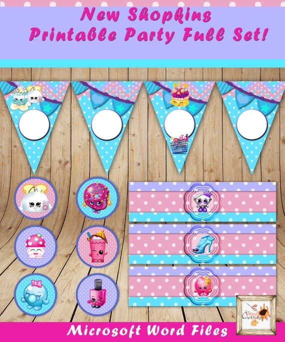 Shopkins Birthday Banner Shopkins Party Banner: Shopkins Printable Party Banner Cup Cake Toppers By