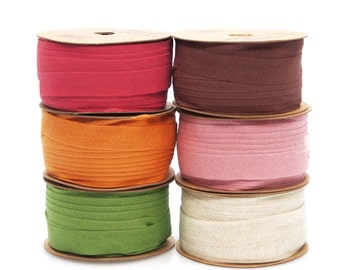 Cotton Linen Blend Fabric Ribbon, 5/8-inch, 25-yard
