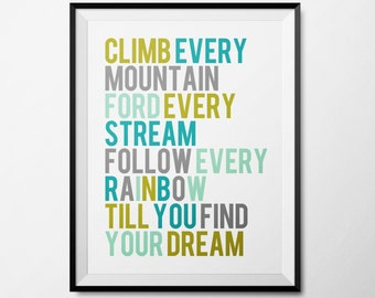 Climb Every Mountain Wall Art for Baby's Room - torquoise, grey, green, mint