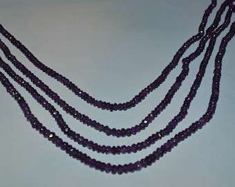 AA Grade Natural Amethyst Faceted 4-5mm Faceted Rondel Beads Full Stand - (2014027)