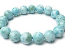 8mm Larimar Bracelet , Natural Larimar Bracelet, Mens Womens Gift Bracelet, Genuine Larimar Jewelry Bracelet, Blue Gemstone Beads Bracelet