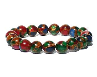10mm Multicolor Bracelet, 10mm Aventurine Bracelet, Stretch Bead Bracelet, Multi Color Bracelet Womens, Gemstone Bracelet, Colorful Bracelet