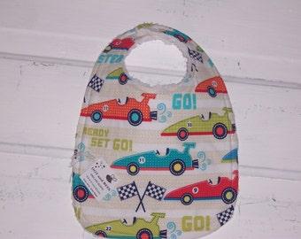 Vintage Race Car Baby Bib !  FREE SHIPPING !!!!!
