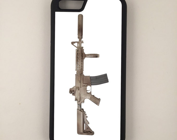 Assault Rifle With Suppressor  iPhone Galaxy Note LG G4 Protective Hybrid Rubber Hard Plastic Snap on Case Black