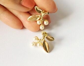Gold Branch Earrings - Twig earrings - Gold earrings - Post earrings - Stud earrings - Pearl twig earrings - Gold twig - Boho earrings
