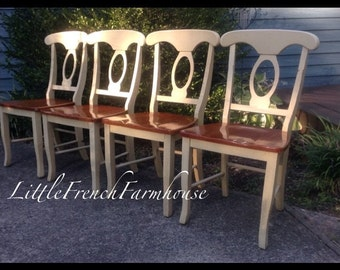 HALF PRICE SALE on table! 4 Keyhole Farmhouse Dining Chairs  Buttercream + stained wood seats - Very Solid - Beach Cottage