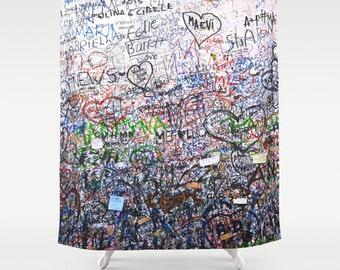 Italy Shower Curtain, Graffiti Shower Curtain, Verona, Italy, Love Decor, Photo Shower Curtain, Girls Bathroom Decor, Teen Room Decor, Dorm