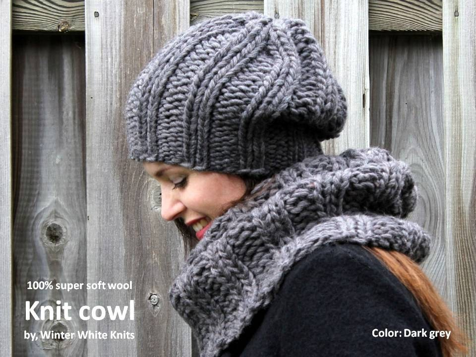 Tube Cowl Knitting Pattern : WOOL COWL hand-knit cowl soft wool cowl knit tube scarf