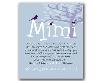 Gift for Mimi - Gift from Grandchildren - Can Be Personalized with We or I Love You Mimi, With Grandchildrens Names - Any Color Available