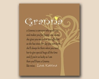 Granna - Personalized Art Print - Birthday Gift - Gift for Home - Bird in Whimsical Tree - Any Color Available