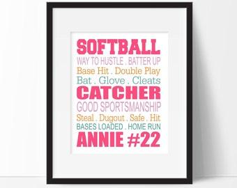 Softball Wall Art - Girls Room Art - Softball Wall Decor - Softball Room Decor - Sports Gifts - Makes a Great Gift for any Softball Player