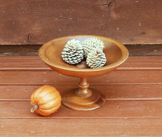 Pedestal wood bowl vintage bread basket wooden