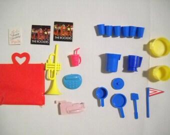 Vintage Barbie Dishes Accessory Lot 1980s Pots Pans Blue Yellow