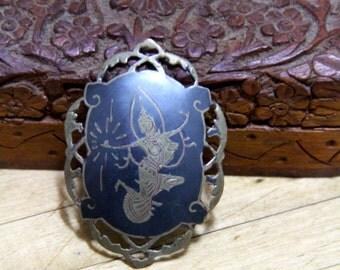Vintage Sterling Silver, black enamel brooch, Siam, Goddess of Lightnening
