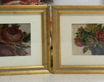 Vintage Rose Art / Needlework / Tuille/Applique / Vintage Framed Crewel (set of 2)