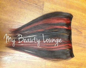 12 inch Red & Brown Highlight human hair  Clip in 1 pcs Double Wefted