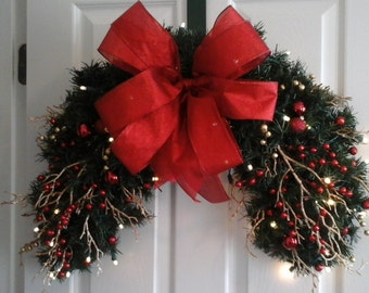 Christmas Lighted Wreath, Garland Swag, SHIPPING INCLUDED Half Wreath, Berry Wreath, Window, Over Door, Outdoor Swag, Elegant Holiday Decor