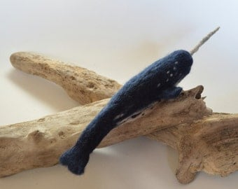 Soft Sculpture Needle Felted Narwhal