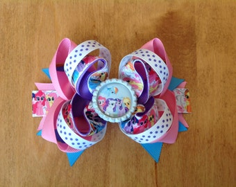 My Little Pony Stacked Hair Bow, Girls Stacked Hair Bow