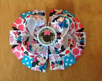 Disney Minnie Mouse Hair Bow, Dots Stacked Hair Bow, Girls Hair Bow