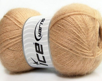 Light Brown Angora blend yarn, Sport weight, 546 yards per skein, ICE brand yarn #35195